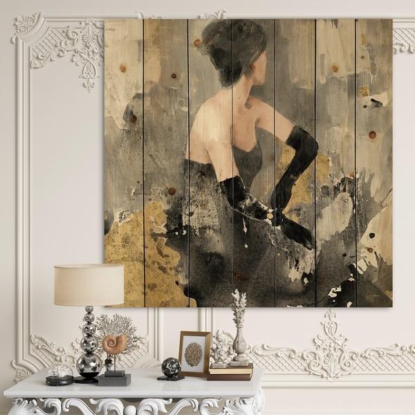 Designart 'Gold Fashion Dance' Traditional Print on Natural Pine Wood - Black