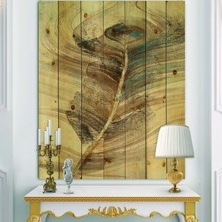Designart 'Feather Natural elements ' Traditional Print on Natural Pine Wood - Blue