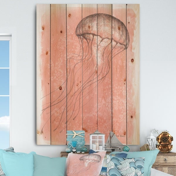 Designart 'Coastal Sea Life IV jellyfish sketches' Nautical & Coastal Print on Natural Pine Wood - Pink