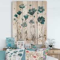 Designart 'Fields of Turquoise Watercolor Flower I' Traditional Print on Natural Pine Wood - Grey/Blue