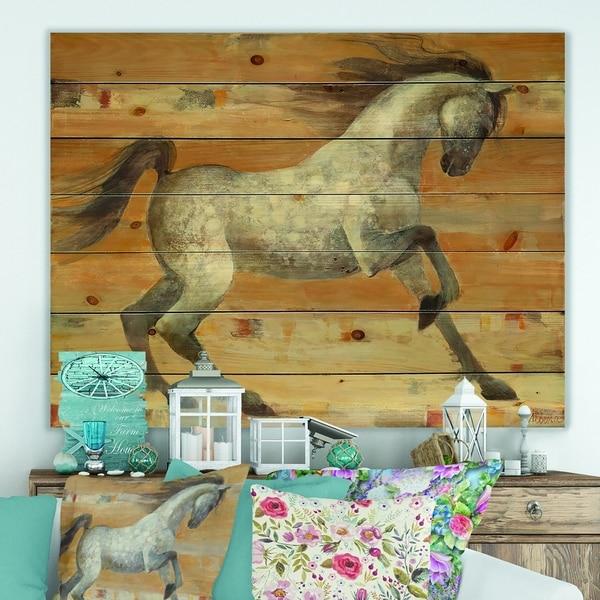 Designart 'southwest Beige Horse' Modern Farmhouse Print on Natural Pine Wood - Brown