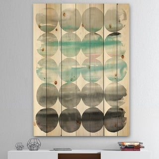Designart 'geometric Neutral Glue Circles' Transitional Print on Natural Pine Wood - Multi-color