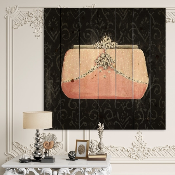Designart 'Glam & Fashion Parfum Boudoir II' Posh & Luxe Print on Natural Pine Wood - Black/Pink