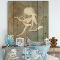 Designart 'Octopus Treasures from the Sea' Nautical & Coastal Print on Natural Pine Wood - Blue/Brown