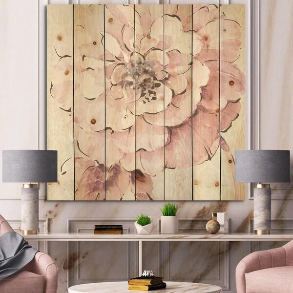 Designart 'Indigold Shabby Peonies Pink' Farmhouse Print on Natural Pine Wood - Pink/White