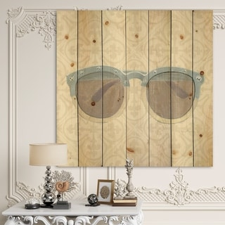 Designart 'Glam cosmetics Blue Sun Glasses' Posh & Luxe Print on Natural Pine Wood