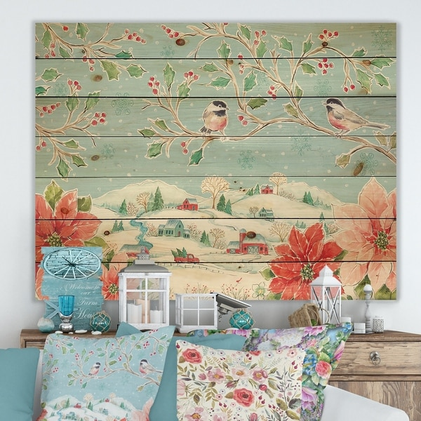 Designart 'Country Flower snowflakes II' Farmhouse Print on Natural Pine Wood - Blue/Red