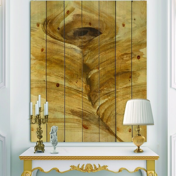 Designart 'Feather Natural elements I' Traditional Print on Natural Pine Wood - Brown