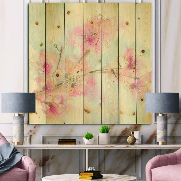 Designart 'Pink Blossoms Branch' Floral Cottage Print on Natural Pine Wood - Blue/Pink