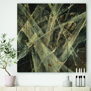 Designart 'Abstract Glacial Black and White Painting' Mid-Century Modern Print on Natural Pine Wood