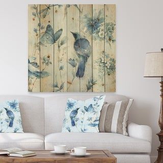 Designart 'Indigold Watercolor Flower III' Farmhouse Print on Natural Pine Wood - Grey/Blue