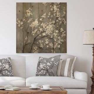 Designart 'White Cherry Blossoms I' Traditional Print on Natural Pine Wood - Black/White