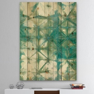 Designart 'Turquoise Watercolor geometrical III' Modern & Transitional Print on Natural Pine Wood - Blue/Brown
