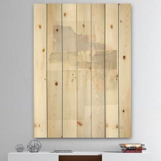 Designart 'Geometric Neutral Form III' Shabby Chic Print on Natural Pine Wood - Grey/Brown