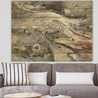 Designart 'Fire and Ice Minerals I' Farmhouse Print on Natural Pine Wood - Multi-color