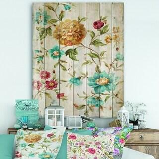 Designart 'Golden Flowers' Cabin & Lodge Print on Natural Pine Wood - Blue/Orange
