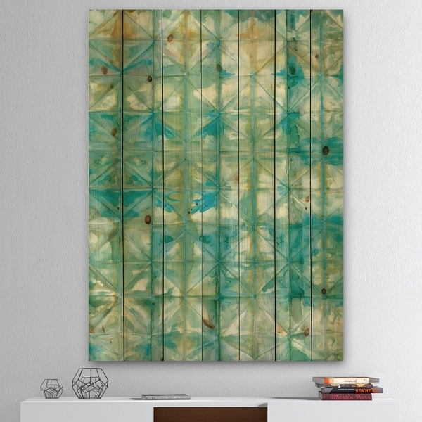 Designart 'Blue diamonds minimal geometric I' Transitional Print on Natural Pine Wood - Blue