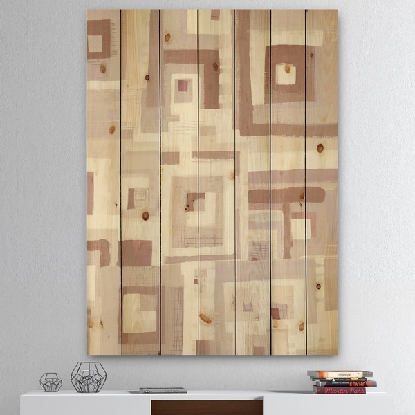 Designart 'Pink Geometric Form Windows II' Transitional Print on Natural Pine Wood - Grey
