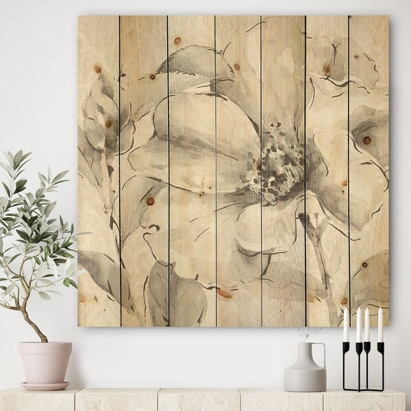 Designart 'Indigold Grey Peonies IV' Farmhouse Print on Natural Pine Wood - White