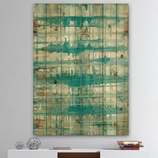 Designart 'Turquoise Watercolor geometrical VIII' Modern & Transitional Print on Natural Pine Wood - Blue/Brown