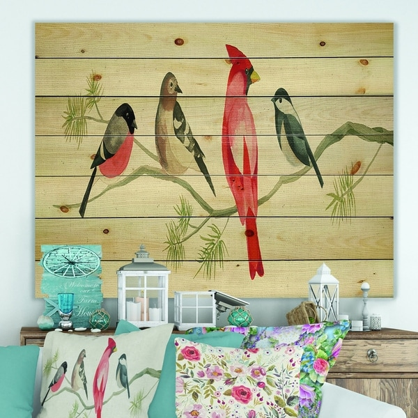Designart 'Chickadee And Red Farmhouse Bird on Branch' Modern Farmhouse Print on Natural Pine Wood
