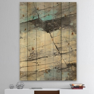 Designart 'Rock Teal Panel II' Modern & Contemporary Print on Natural Pine Wood - Blue