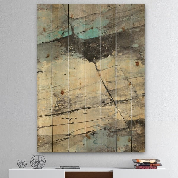 Designart 'Rock Teal Panel II' Modern & Contemporary Print on Natural Pine Wood - Blue