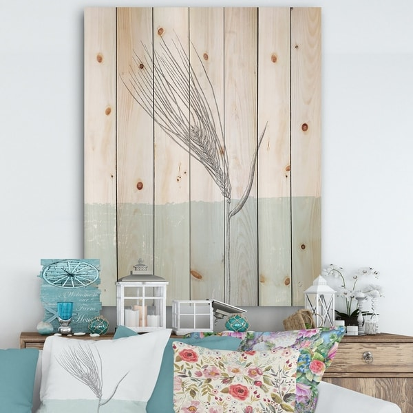 Designart 'Natural Element Farmhouse I' Cottage Print on Natural Pine Wood - Blue