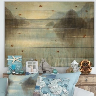 Designart 'Vue from Lase House' Lake House Print on Natural Pine Wood - Blue/Brown