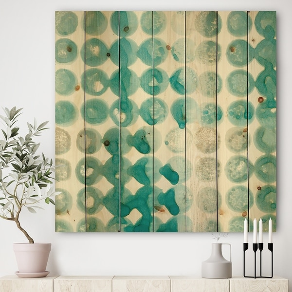 Designart 'Turquoise Watercolor geometrical II' Modern & Transitional Print on Natural Pine Wood - Blue/Brown