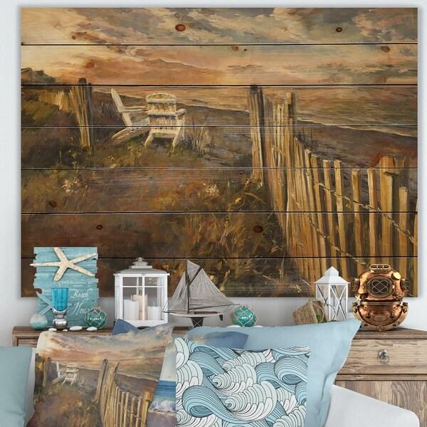 Designart 'Dunes Sunset' Nautical & Coastal Print on Natural Pine Wood - Brown/White