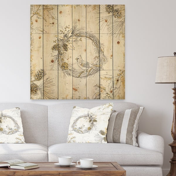Designart 'Gold Beautiful cardinals' Farmhouse Print on Natural Pine Wood - White