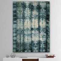 Designart 'Indigo watercolor geometrical IV ' Contemporary Print on Natural Pine Wood - Blue/White