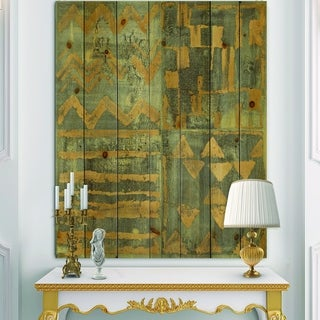 Designart 'Gold Geometric Tapestry III' Modern & Transitional Print on Natural Pine Wood - Grey