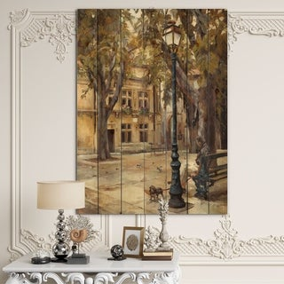 Designart 'Provence French Village II' French Country Print on Natural Pine Wood - Grey