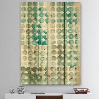 Designart 'Turquoise Watercolor geometrical V' Modern & Transitional Print on Natural Pine Wood - Blue/Brown