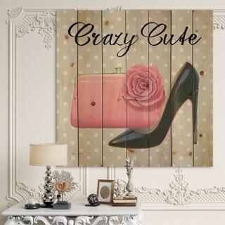 Designart 'Glam fashion High Heels I' Fashion Print on Natural Pine Wood - Grey/Pink