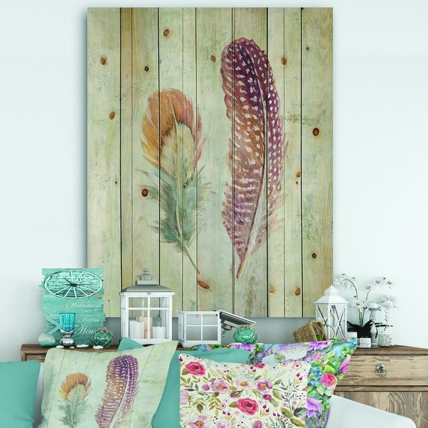 Designart 'Natural Feathers on Wood II' Farmhouse Print on Natural Pine Wood - Blue/Brown