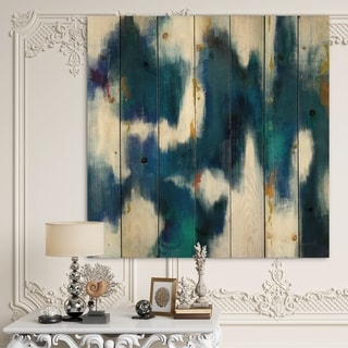 Designart 'Blue Glam Texture II' Contemporary Print on Natural Pine Wood - Blue