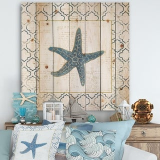 Designart 'Navy Starfish with Gold' Nautical & Coastal Print on Natural Pine Wood - Blue