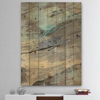 Designart 'Rock Teal Panel I' Modern & Contemporary Print on Natural Pine Wood - Grey/Blue