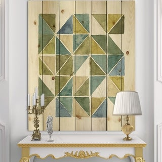 Designart 'geometric Green Triangle I' Modern & Transitional Print on Natural Pine Wood