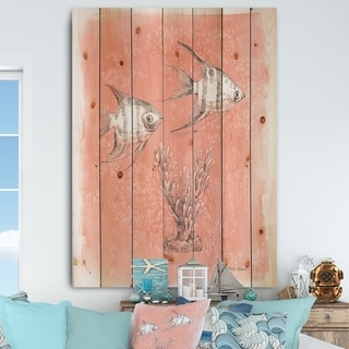 Designart 'Coastal Sea Life III fish sketches' Nautical & Coastal Print on Natural Pine Wood - Pink