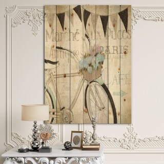 Designart 'French Bicycle Flea Market I' French Country Print on Natural Pine Wood - Black/Grey