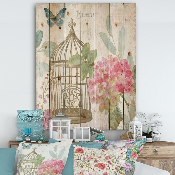 Designart 'Vintage Floral Birdcage I' Traditional Print on Natural Pine Wood - Pink