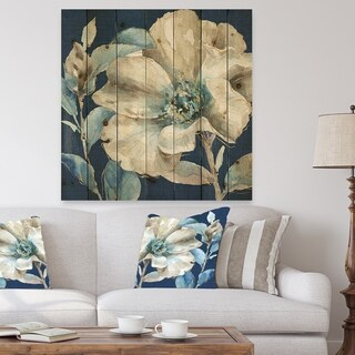 Designart 'Indigold Watercolor Flower I' Farmhouse Print on Natural Pine Wood - Grey/Blue