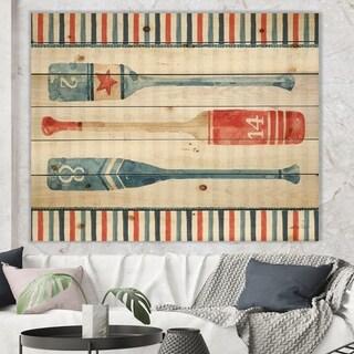 Designart 'Watercolor Nautical paddles' Nautical & Coastal Print on Natural Pine Wood - Blue
