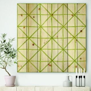 Designart 'geometric Green Triangle II' Mid-Century Modern Transitional Print on Natural Pine Wood
