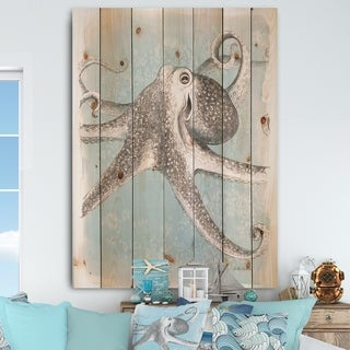 Designart 'Coastal Sea Life II octopus sketches' Nautical & Coastal Print on Natural Pine Wood - Grey/Blue