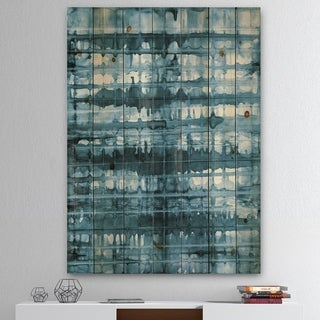 Designart 'Indigo watercolor geometrical V ' Contemporary Print on Natural Pine Wood - Blue/White